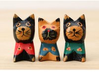 Wholesale Wood Living Room Cabinets - Home Decoration Wood carvings Crafts Painted Retro nostalgia Creative mini cute cat Living Room Restaurant Wine Cabinet child gift wholesale