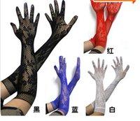 Wholesale Short Sheer Bridal Gloves - Charm sexy women's jacquard small mesh short-sleeve gloves Free Shipping