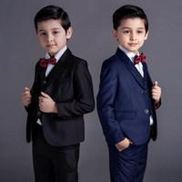baby blue anzüge hochzeiten groihandel-Neue Mode Baby Kinder Jungen Kinder Blazer Anzüge Jungen Anzüge für Hochzeiten formale blau schwarz Hochzeitsanzug Blume Jungen Kleid