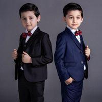 trajes de bebé azul bodas al por mayor-Nueva moda para bebés, niños, niños, niños, chaquetas, trajes, niños, trajes para bodas, formal, azul, negro, traje de boda, vestido de niño de flores