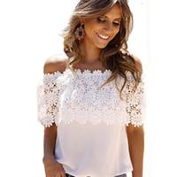 satış artı boyutu bluzlar toptan satış-Toptan Satış - Toptan-Sıcak Satış Yeni 2016 Dantel Gömlek Kadınlar Off Omuz Kısa Kollu Seksi Şifon Bluz Plus Size S-3XL Tops