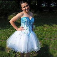 Wholesale Embellished Beaded Mini Dress - 2016 Stunning Plus Size Homecoming Dresses White Organza Crystals Embellished Corset Top Short Graduation Prom Party Gowns Custom Made
