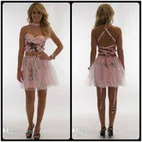 Wholesale Custom Overlays - Pink Two Piece Camo Short Mini Homecoming Sexy Criss Cross Tulle Overlay Sleeveless Special Prom Party Graduation Gowns Cheap Satin 2018