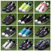 Wholesale Punk Fabrics - Adidas Originals Men's Women's Lover Originals Superstar Trainer Shoes White Black Blue Red Athletic Sports Running Shoes