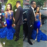 Wholesale Sexy Girl Flower Skirt - Royal Blue Mermaid Long Prom Dresses for Black Girls 2018 Sexy Illusion Long Sleeve 3D Flower Skirt African Evening Dress Party Gowns