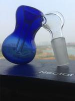 ingrosso tubo portaoggetti portaoggetti-bong di vetro ciotola di colore blu tubi Vetro narghilè portatile Tornado Perk Vetro su vetro Catcher di cenere 14mm maschio Ciotola bubbler Ashcatcher
