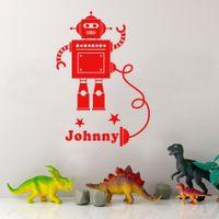 Wholesale Yellow Robot Cartoon - Custom-made Any Boys Name Robot Personalised Cartoon Wall Sticker Kids Room Decoration