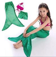 bikini gratis para niños al por mayor-Recién llegados Niños Niñas Niños Traje de baño Shell Traje de baño Bikini + Pantalones cortos + Faldas Cola de sirena Spandex BH2055 Envío gratis