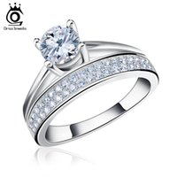 Wholesale Cluster Solitaire Rings - Promotion New Design Cluster Ring Fashion Charm Zircon Crystal Silver Color Rings Women Jewels OR107