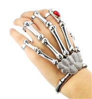 Wholesale Accessories Finger Rings - Punk Rock Skeleton Skull Hand Bone Knuckle Finger Bracelet Goth Bangle Jewelry Accessories