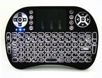 ingrosso tastiera del mouse dell'aria di tocco bianco-Rii I8 Smart Fly Air Mouse Retroilluminazione a distanza 2.4 GHz Tastiera Bluetooth senza fili Telecomando Touchpad per Android Box MX3 M8S Bianco Nero