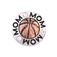 Wholesale Bracelet Basketball - 12pcs lot High quality 18mm Metal Snap Button Charm Rhinestone Basketball Styles Button Ginger Snaps Jewelry