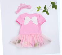 trajes de ala de bebé al por mayor-Conjunto de ropa de bebé niñas alas de ángel lindo conjunto de falda de mameluco de bebé Lovely Baby Girls vestido de mameluco con diadema de corona 2pcs conjunto