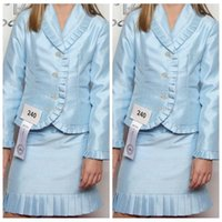 Wholesale Interview Outfits - Long Sleeves Jacket Formal Outfit Sky Blue With Pleated Edge Girls Pageant Dresses Knee Length Mini Sheath Interview Formal Wear Teenager
