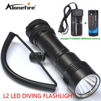 Wholesale 12v Rechargeable Led Torch - Alonefire underwater Diving diver flashlight CREE XM-L2 DV17 LED Waterproof lamp torch+26650 Rechargeable battery+charger