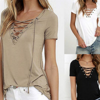 Wholesale Cheap Lace Shirts Women - Cheap 2016 Summer Sexy T-Shirts Pullover V-Neck Lace-Up Short Sleeve Solid Casual Tops Women Clothing Brand Style Free Shipping