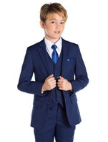 Wholesale Navy Boys Suit - New Navy Blue Kid Wedding Suits Three Piece Notched Lapel Custom Made Boy Formal Wear (Jacket + Pants +Vest)