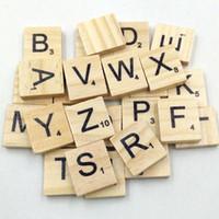 Wholesale Wood Scrabble Tiles - 100PCS Wooden Scrabble Tiles Black Letters Numbers For Crafts Wood Alphabets Blocks Toys Wholesale prices Krystal