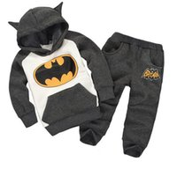 Wholesale Batman Cartoon Suits - Spring Baby Boy Girl Batman Hoodies Sport Suit Kids Boy Halloween Fantasy Costume Kids Gir Cartoon Clothing Set Children Cotton Outfits