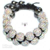 Wholesale Cheap Rhinestone Ball Beads - new cheap! Hot! 10mm Crystal AB Rhinestone Shamballa Crystal ball bead bracelet.shamballa Disco wholesale . HOT hotsale DIY