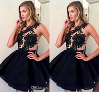 Wholesale knee length teen dresses - Jewel Hollow Back Homecoming Dresses For Teens Party Ruched Above Knee Sexy Short Homecoming Dresses Lace Appliques Simple Cocktail Gowns