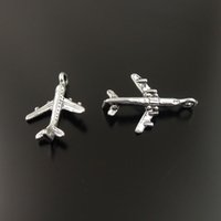 Wholesale Silver Craft Bracelets - Antique Style Silver Alloy Airplane Pendant Charm Necklace Bracelet DIY Craft 18mm 35888 100pcs jewelry making