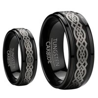 8mm Men 6mm Women Black Tungsten Carbide Unscratchable Wedding Band Ring Set W / laser Etched Celtic Design