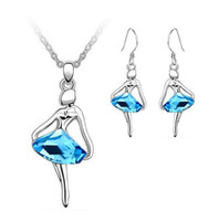 Wholesale Swarovski Elements Gold - New Fashion 18K White Gold Plated Ballet Girl Sea Blue Crystal Necklace Earrings Jewelry Sets for Women Made With Swarovski Elements