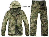 Wholesale Shark Military - Wholesale-TAD Stalker Shark Skin Military Camouflage Hunting Jackets Fishing Waterproof SoftShell Outdoor Jacket Set Sport Army Clothes S6