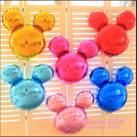 Wholesale Decorative Models - Cartoon Mickey Mouse Aluminum Foil Balloon Birthday Wedding Party Supplies Decoration Gold Blue Pink Black Green Purple 9 Colors Available
