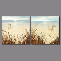 Wholesale wall decor panels beach - Gold seaside beautiful girl 2pcs Landscape Decoration Light shining beach Canvas Painting on wall hanging home decor unframed
