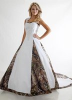 Wholesale Camo Cross - 2016 Gorgeous Wedding Dresses halter Camo Realtree Print Embroidery Criss Cross Long Sweep Train Formal Bridal Gowns