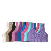 бесшовный пуловер из микрофибры оптовых-Высокое качество бесшовные бюстгальтер из микрофибры пуловер бюстгальтер форма тела спорт йога бюстгальтер 9 цветов 6 размер