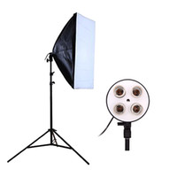 Freeshipping fotografia Studio Softbox Kit Video Lampada a sospensione con quattro coperchi + 50 * 70 cm Softbox + 2m Light Stand Photo Soft Box