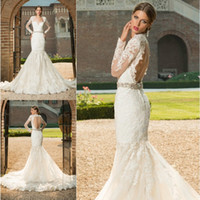 Wholesale sexy beaded belts for sale - Group buy New vestido de noiva Long Sleeves Backless Romantic Lace Mermaid Wedding dresses Custom made Applique Vintage Bridal Gown Beaded Belt