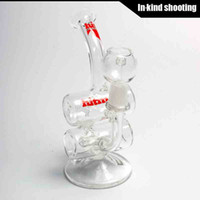 Wholesale Pipes Drums - Hitman Glass - Baby Double Barrel Recycler Vapor Rig # 2 bongs water pipe s bong glass dab oil rigs percolator bubbler pipe mini drum thick