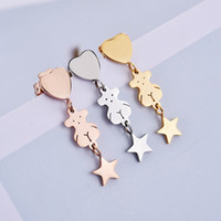 Wholesale Gold Plated Star Earring - New Fashion Unique design Panda style stainless steel lady women Star Heart charms earrings jewelry party gift El pendiente oso