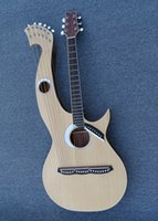 Wholesale Acoustic Double Neck - Free shipping Double neck acoustic electric harp electric guitar with 6,6,8 strings and EQ