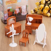 Wholesale Townhouse Dollhouse Furniture - New Vintage Miniature Bedroom Furniture Set Dresser Desk Mirror Furniture Toys Set for Kids Christmas Gift Dollhouse Accessories