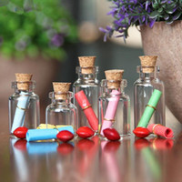 Wholesale Wholesale 3ml Wish Bottles - 1 2 3ml Lovely Small Wish Bottle Tiny Clear Empty Wishing Glass Message Vial With Cork Stopper Mini Containers Bottle F20172200