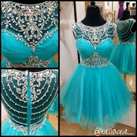 Wholesale Tulle Sparkle Homecoming Dress - 2016 New Sweet 16 Aque Blue Sparkle Tulle Homecoming Dresses Crystals Vestido De Festa Short Summer Party Graduation Dress Prom Gowns