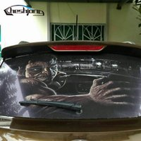 Wholesale Perforated Window - roll Perforated Car Rear Window Glass Printed Styling Rear Windshield One Way Vision Mesh Film Tint 127*70cm roll