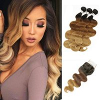 Colorido Raw Indian Virgin Hair Body Wave T4 30 27 Ombre Extensões de cabelo humano 3 Bundles com encaixe encerado Body Wave Hair Weaves