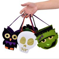 Wholesale owls decorations party resale online - Halloween Pumpkin Owl Skull Zombie Bag Non Woven Handbag Treat or Trick Candy Basket for Halloween Party Decoration