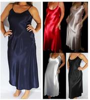 Wholesale Long Satin Nightgowns Women - Wholesale- Plus SIze XXXL Women Sexy Maxi Long Satin Sleepdress Hot Summer Soft Nightgown Female Faux Silk Sleepwear Satin Sleepshirts
