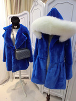 Wholesale Rabbit Hoodie For Women - autumn winter fashion solid blue hooded faux rabbit fur fur jacket coat for women women's warm thernal hoodies jackets coats outerwear
