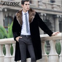 AILOOGE Black Warm Casual Short Faux Mink Rabbit Fur Coat Мужская кожаная куртка Мужские пальто Villus Winter Loose Thermal Outerwear