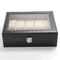Wholesale Wrist Watch Storage - Wholesale-10 Slots Organizer Case Faux Leather Storage Holder Wrist Watch Display Box