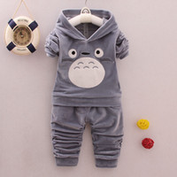 Wholesale Warm Pants For Kids - New kids clothes 2017 Autumn velvet clokids hoodie+pant set 2 pieces children long sleeve cartoon clothes suit warm clothing for winter 4s l