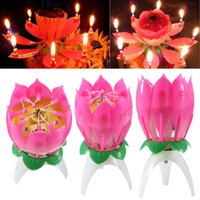 Musical Candle Musical Lotus Rotating Happy Birthday Candle Lights Red Musical Candle Flower Candle Musique Flower Birthday Candle
